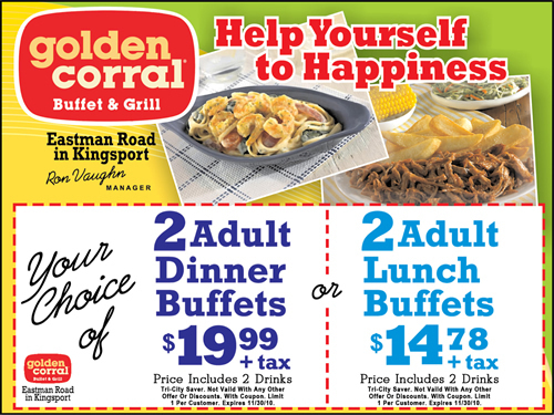 PRICE Golden Corral Buffet Menu Prices BEVERAGES INCLUDED FOR BREAKFAST ONLY Breakfast (Sat. and Sun. till 11 am) $ Lunch (Mon. to Sat. 11am - 4pm) $ Dinner (Mon. to Sun. from 4 pm - close) $ Premium Dinner (Mon. to Sun. from 4 pm) $ Beverages $ Golden Corral Kid's Buffet Ages 3 and under (Limit two free meals per adult) Free Ages $ Dinner (Fri. to Sun.) .